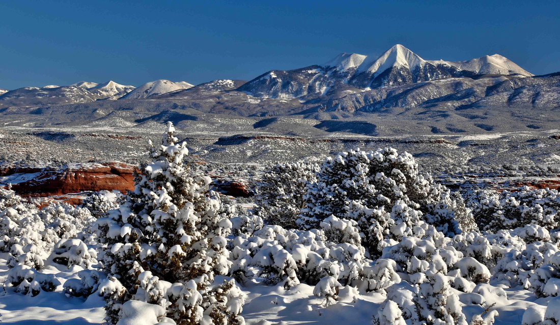 La Sal Mountains covered in snow