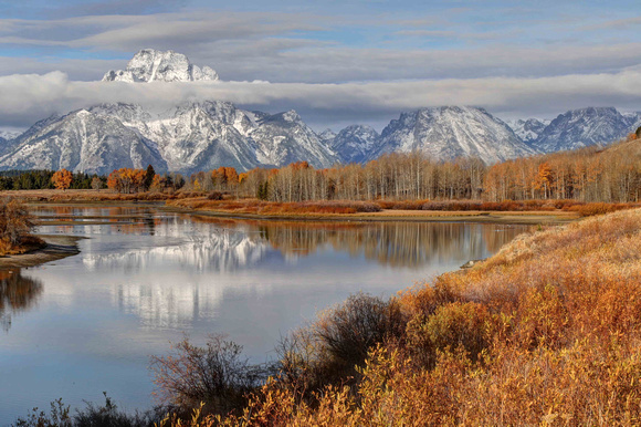 Beautiful colors and dramatic clouds at Oxbow Bend