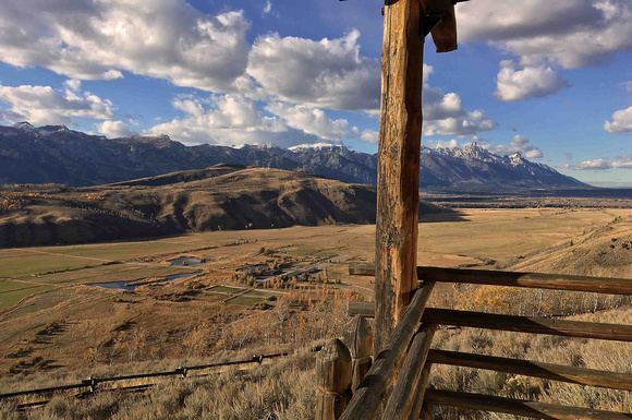 View from the balcony at Spring Creek Ranch in Jackson Hole