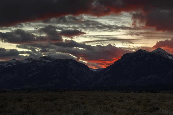 Beautiful sunset over the Tetons