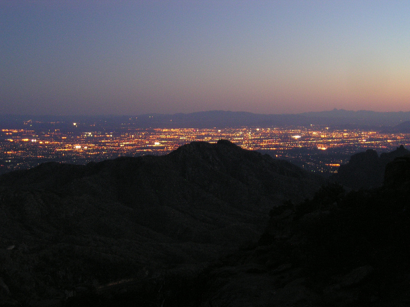 Tucson city lights from near the top of the Santa Catalina Mountains
