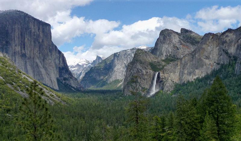 El Capitan, Bridalveil Falls, and Half Dome in Yosemite Valley